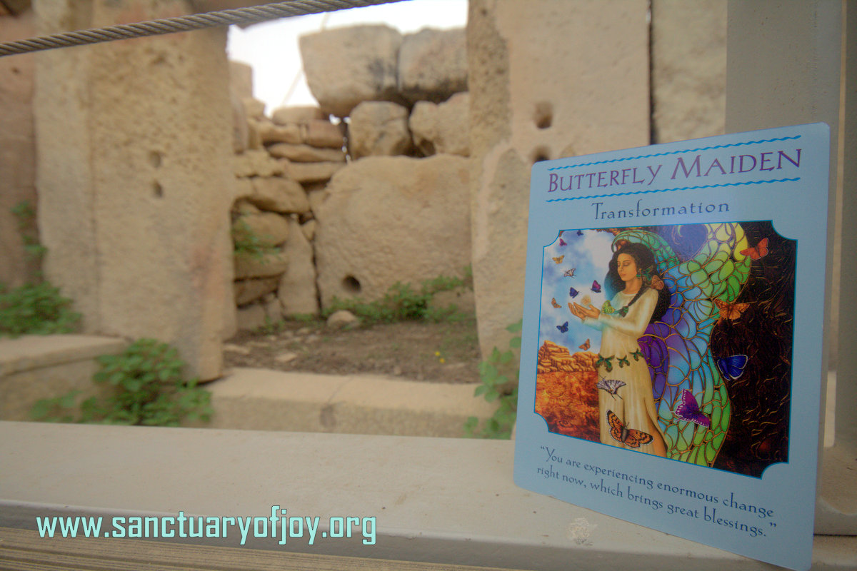 Goddess guidance oracle card in prehistoric goddess temple