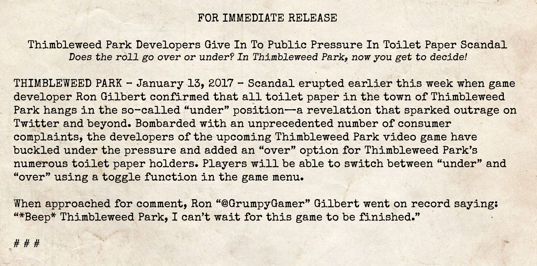Thimbleweed Park Blog- For Immediate Release