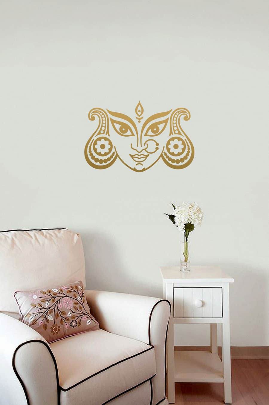 WDC01033 Durga Devi Face Gold M 4 room sticker