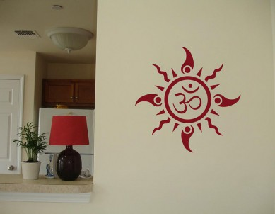 Om Sun Tattoo Wall Sticker