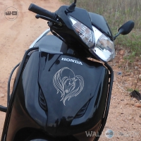 WallDesign Sticker For Motorcycle Horse Love Silver Reflective Vinyl