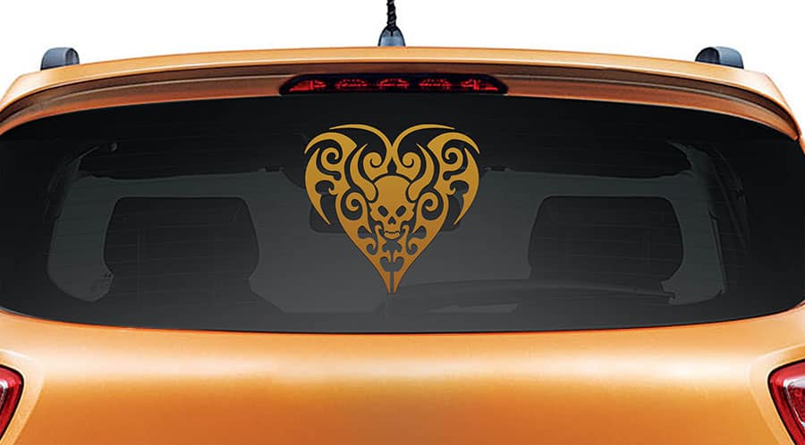 Black Heart Copper Rear Car Sticker
