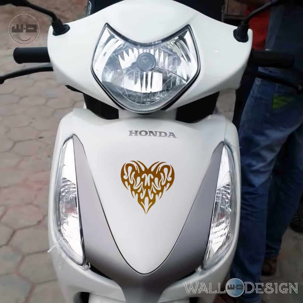 WallDesign Motorbike Graphics Pump My Heart Copper Stickers Reflective Vinyl
