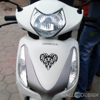 WallDesign Bike Stickers And Decals Pump My Heart Black Reflective Vinyl