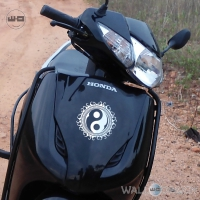 WallDesign Indian Bike Stickers Yin And Yang Silver Reflective Vinyl