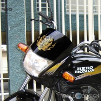 WallDesign Bike Windshield Sticker Eye Of The Tiger Gold Reflective Vinyl
