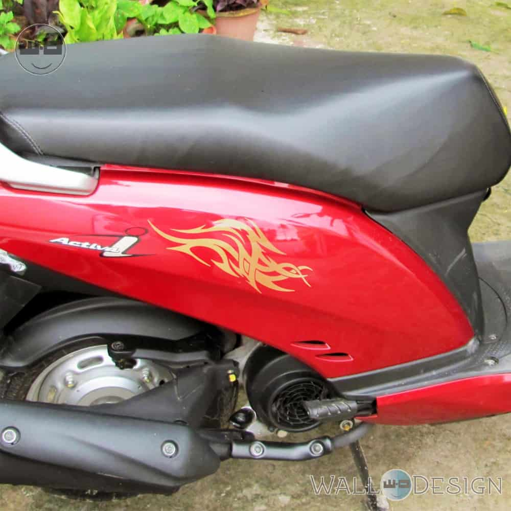 WallDesign Sticker In Bike Wings Of The Eagle Gold Reflective Vinyl