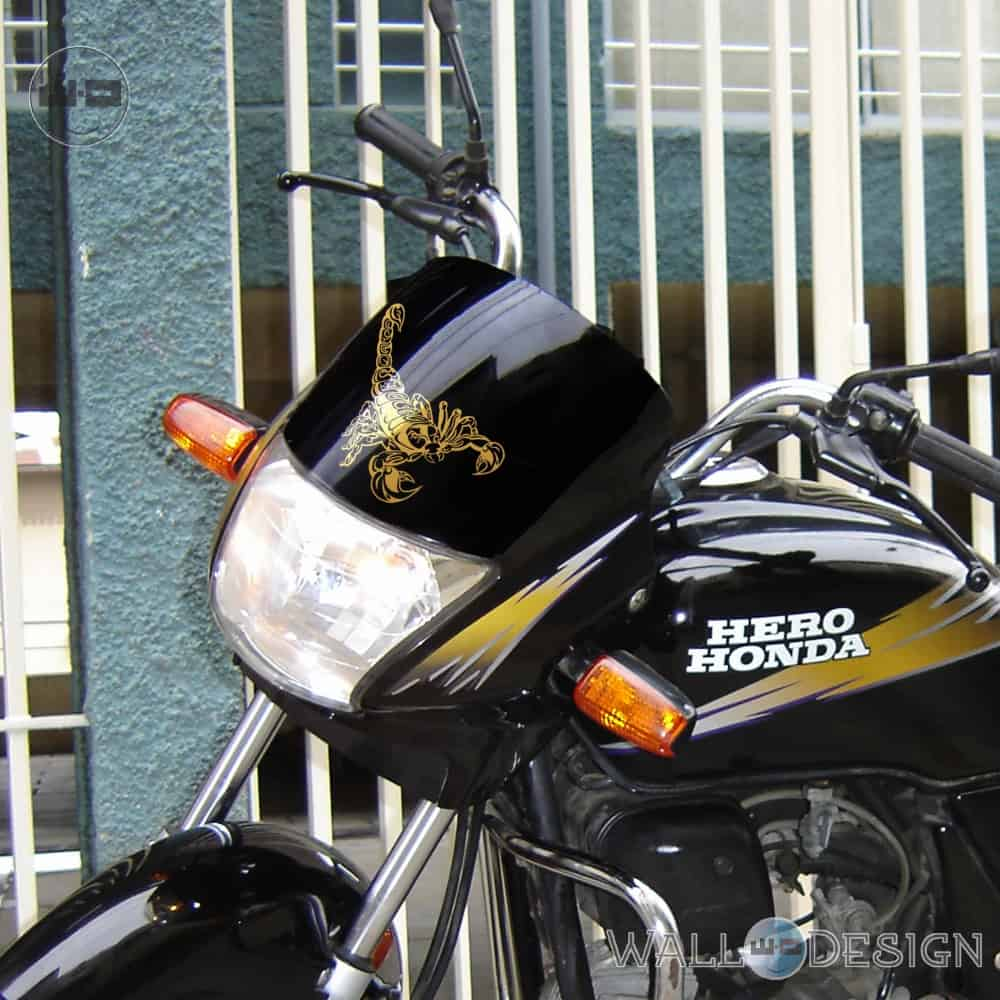 WallDesign Motorcycle Stickers Scorpion You Tattoo Gold Reflective Vinyl