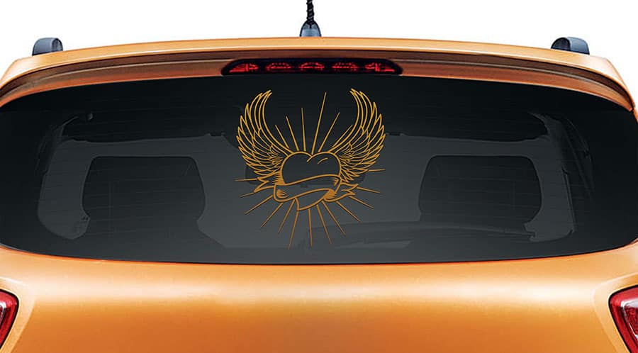 Angel Heart Copper Rear Car Sticker