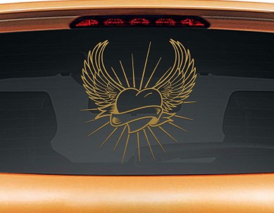 Angel Heart Car Rear Glass Sticker