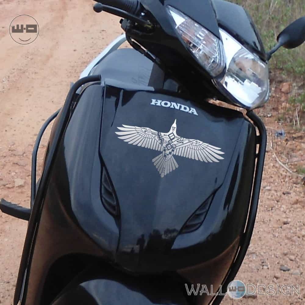 Walldesign motorbike stickers cruise control bird silver reflective vinyl