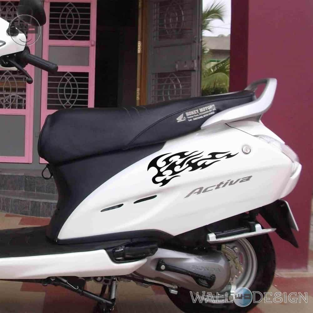 WallDesign Scooter Stickers Wings Of Flame Black Reflective Vinyl