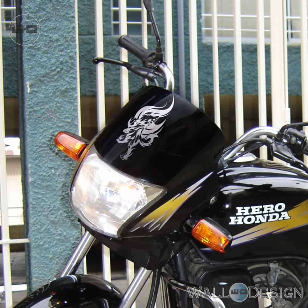 WallDesign Bike Stickers Howl Of The Wolverine Silver Reflective Vinyl