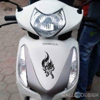 WallDesign Scooter Front Sticker Wolverine Howl Black Reflective Vinyl