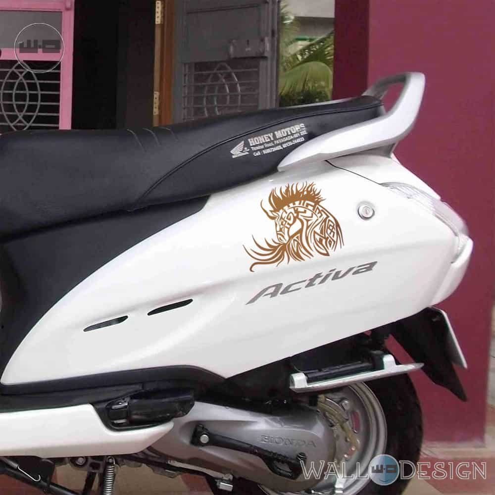 WallDesign Sticker For Motorcycle Horse Flame Tattoo Gold Reflective Vinyl