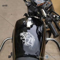 WallDesign Motorcycle Sticker Roaring Lion Flames Silver Reflective Vinyl