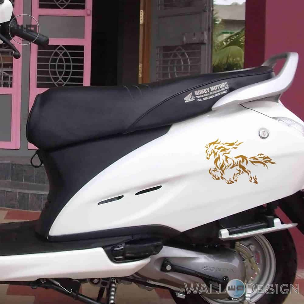 WallDesign Graphic Bike Stickers Stallion Racing Copper Reflective Vinyl