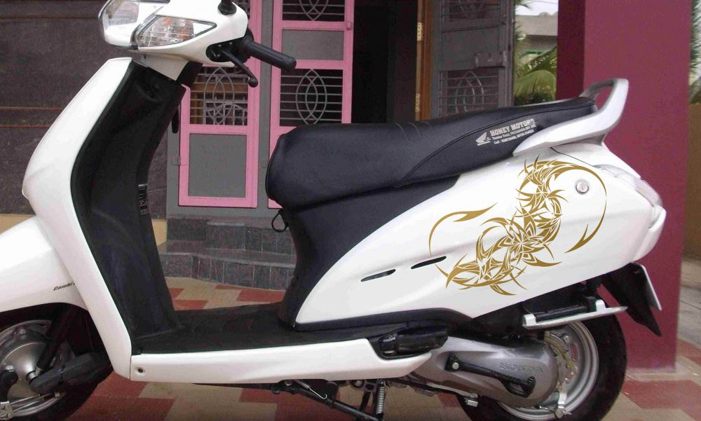 WallDesign Graphics For Bike StickerDragon Tail Stars Gold Reflective Vinyl