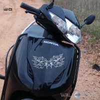 WallDesign Motorbike Sticker Design Swan Wings Silver Reflective Vinyl