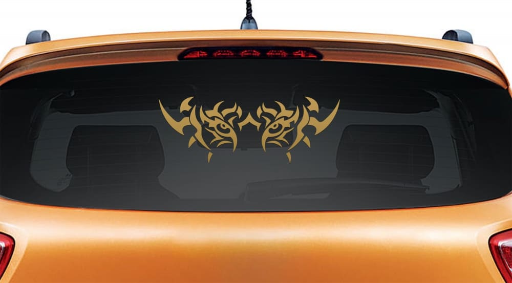 Beware of the Tiger Gold Rear Car Sticker