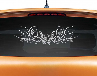 Flowery Butterfly Car Sticker
