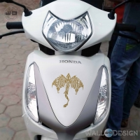 WallDesign Motorcycle Decals Dragon Avatar Gold Stickers Reflective Vinyl