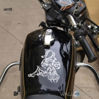WallDesign Motorcycle Sticker Design Playful Tiger Silver Reflective Vinyl