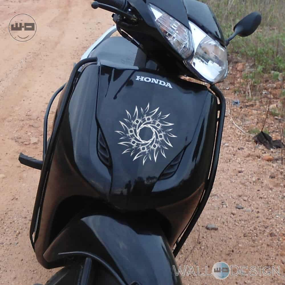 WallDesign Indian Bike Stickers Vaastu Sun Silver Reflective Vinyl