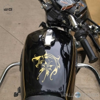 WallDesign Bike Decals Fly Like A Horse Gold Stickers Reflective Vinyl
