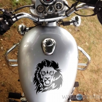 WallDesign Biker Stickers Lion Style Black Reflective Vinyl