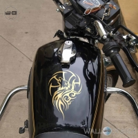 WallDesign Stickers For Bike Tank Wolf Tattoo Gold Reflective Vinyl