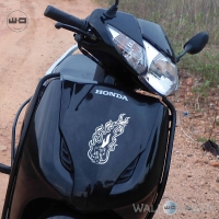 WallDesign Online Scooter Stickers Fiery Dice Silver Reflective Vinyl