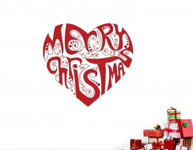 Merry Christmas Heart Wall Sticker