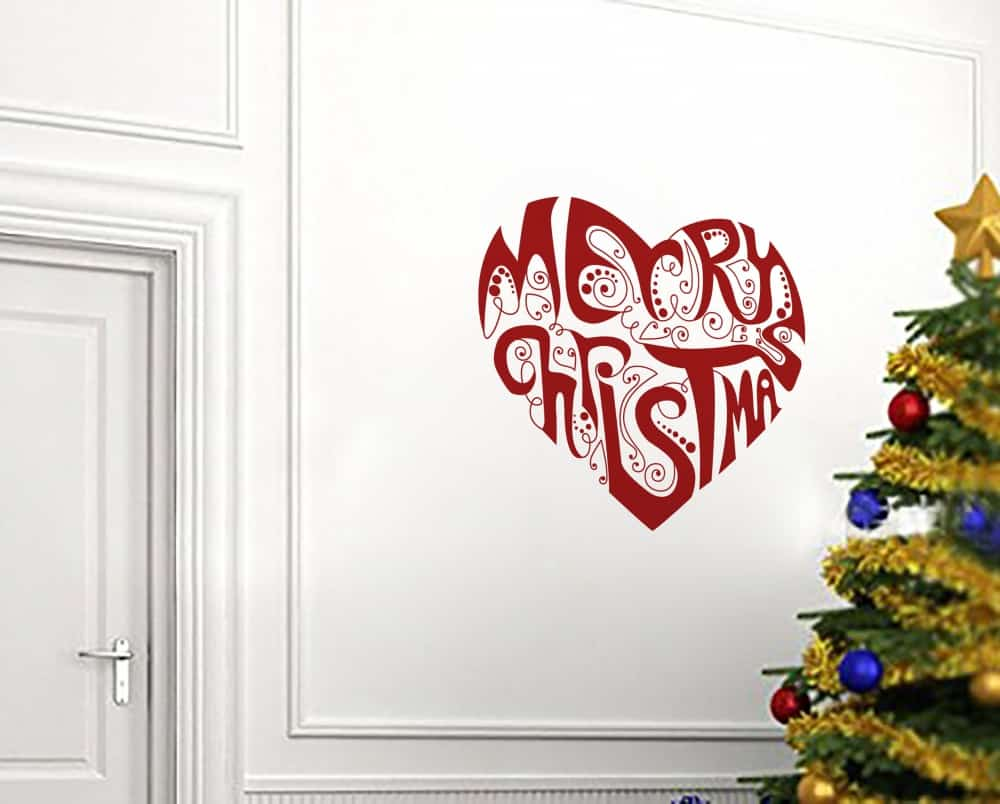 Merry Christmas Heart Universal3 room sticker