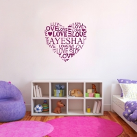 Name love heart Bedroom sticker