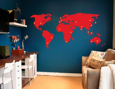 World Map Silhouette with Movable Marker Stickers Wall Sticker