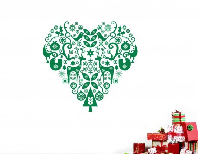 Deer Christmas Heart Wall Sticker