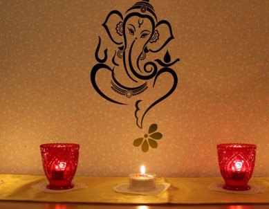 Floral Ganesha Wall Sticker