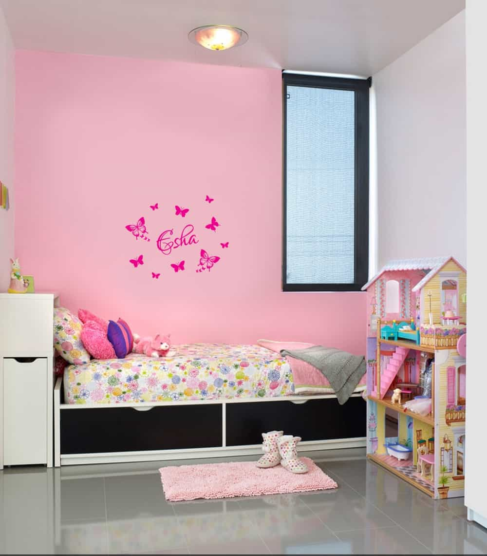 Butterfly with Name Kids3 room sticker