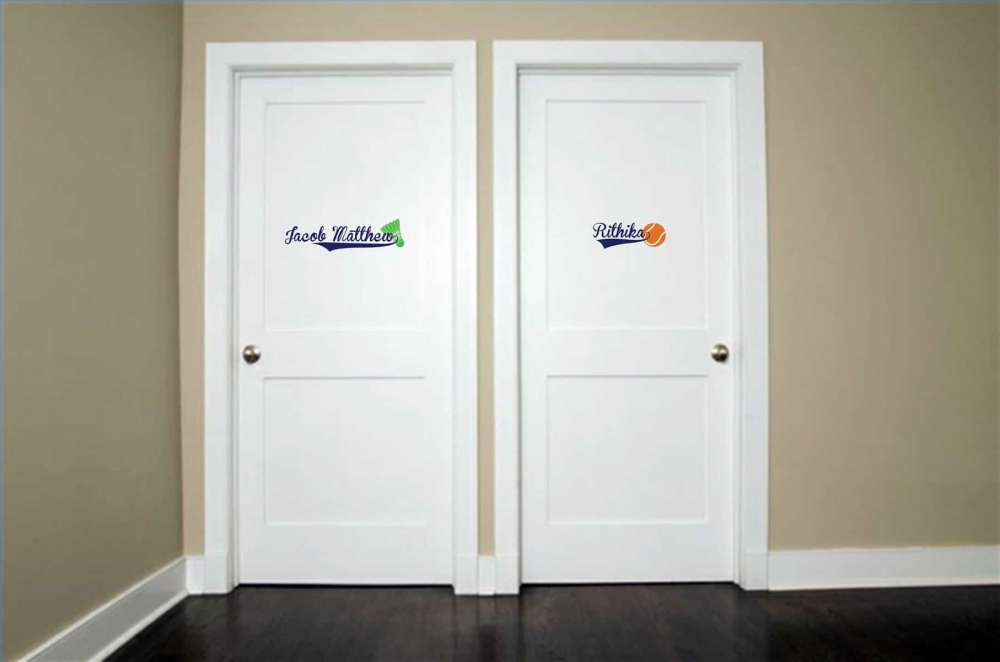 Sporty Space Door room decal