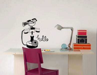 Hello Vintage Telephone Wall Sticker