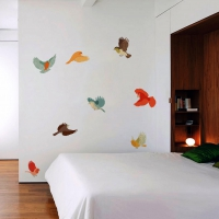Colourful Fabric Birds Bedroom sticker