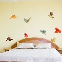 Colourful Fabric Birds Bedroom2 decal