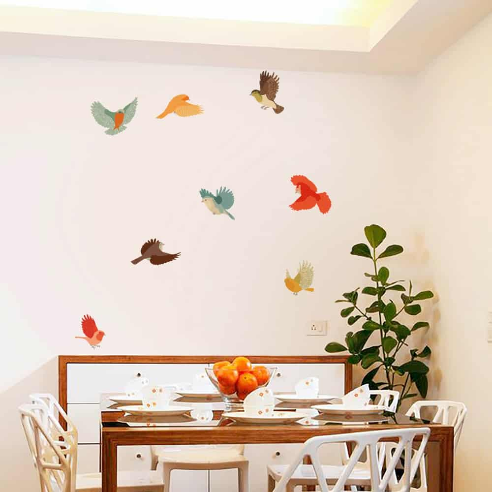 Colourful Fabric Birds Dining room sticker