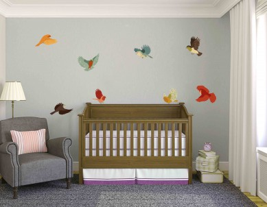 Colourful Fabric Birds Wall Sticker