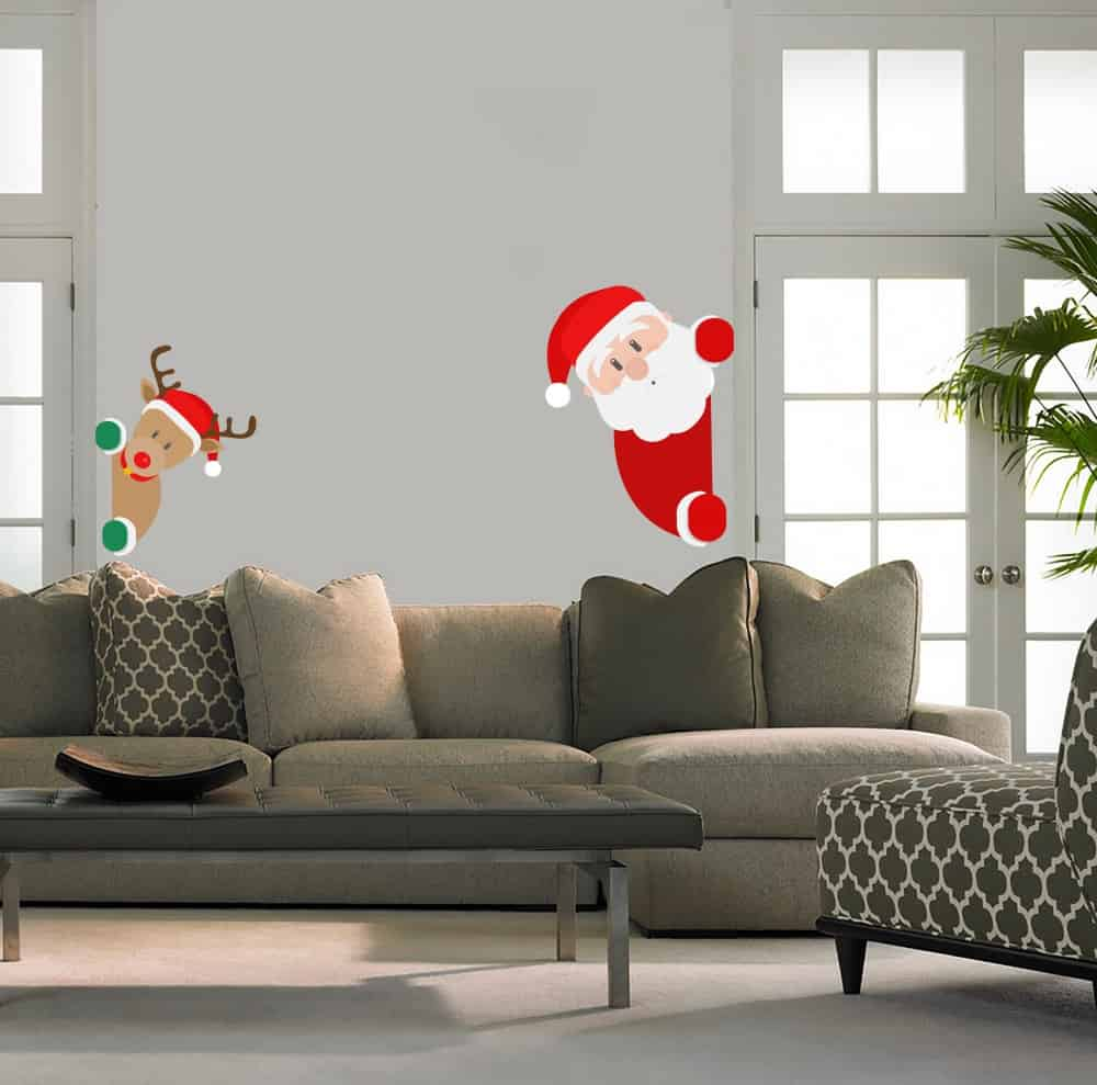 Santa and Deer Popping Living room sticker