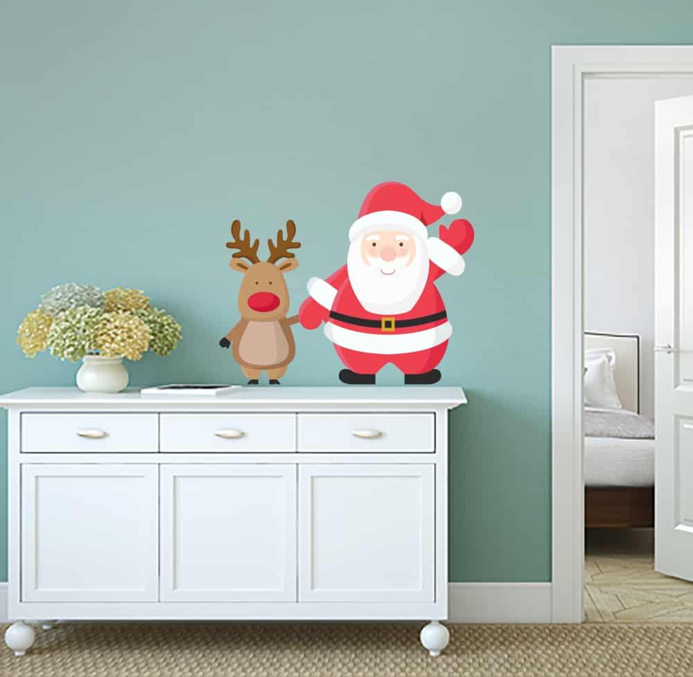 Santa and Deer Popping Universal room decal