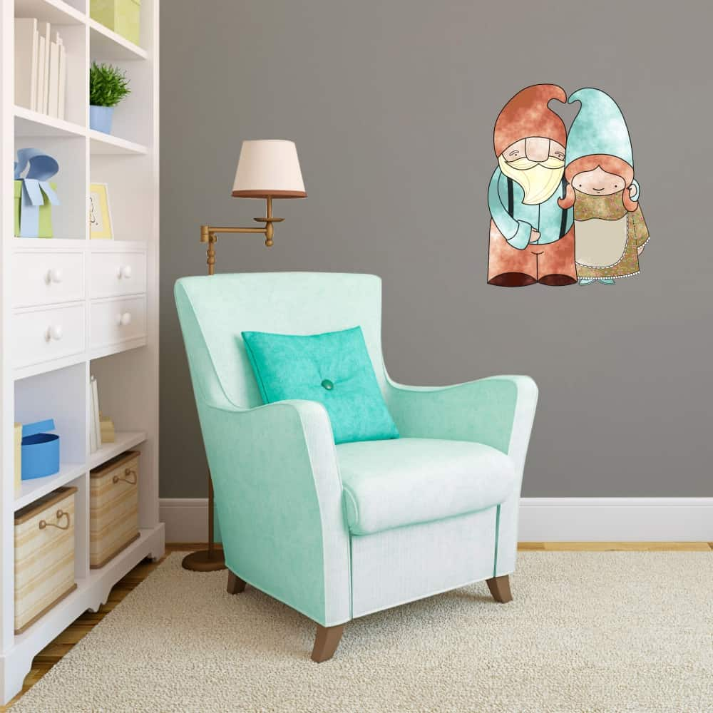 Adorable Gnome Couple Living room decal