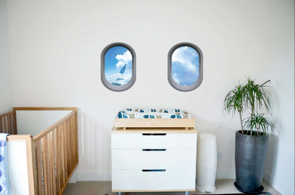 Aeroplane window illusion Infant room sticker