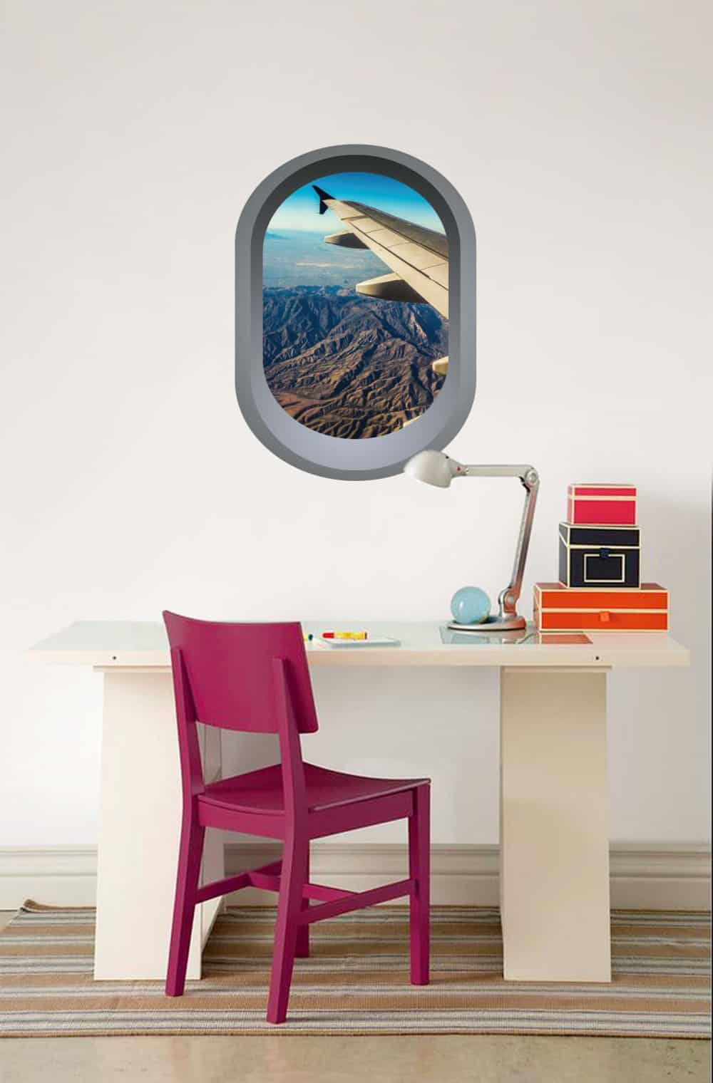 Aeroplane window illusion Study room decal